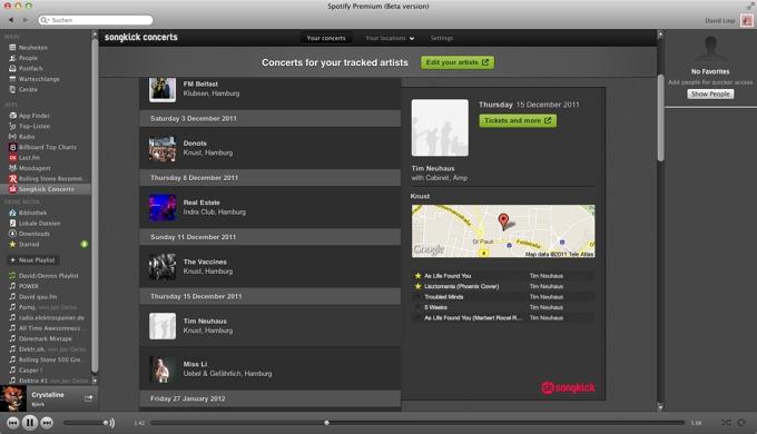 Songkick App in Spotify